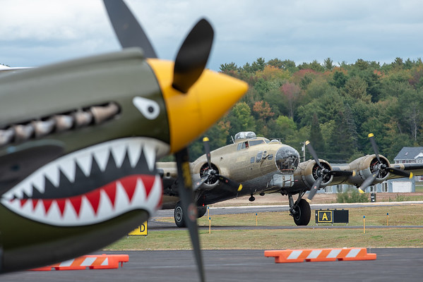 A B-17 taxies toward the terminal Wednesday afternoon.  Vintage aircraft will be on display with tours and rides at Auburn/Lewiston Municipal Airport through Friday during the Collings Foundation Wings of Freedom Tour.