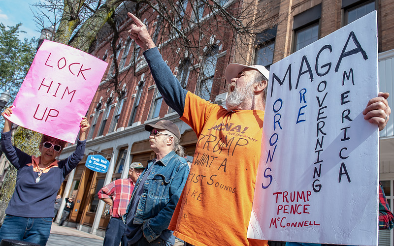 "When Jim Hewey heard about the rally for President Trump he drove from his home in Gray, Maine to Lewiston, Maine to shout his displeasure with the administration during Tuesday's ""Stop the Madness"" rally on Lisbon Street in Lewiston, Maine on October 8, 2019."
