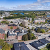 A panoramic view of downtown Auburn and across the Androscoggin River toward Lewiston taken on October 3, 2018. (Russ Dillingham/Sun Journal Aerial)