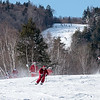 The first of 240 skiers and snowboarders fly down a trail at Sunday River in Newry, Maine on December 8, 2019 during the mountain's 20th annual Santa Sunday fundraiser.