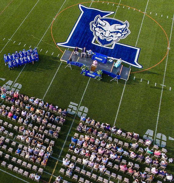An aerial view of the Lewiston High School August Graduation at Don Roux Field at the high school Monday night