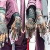 Edward Little seniors show off their henna as they wait for the start of Saturday night's graduation ceremonies at the Androscoggin Bank Colisee in Lewiston from left to right are Rahmo Sheik, Najmo Aliamin, Shukri Abdirahman and Maryam Omar.  (Russ Dillingham/Sun Journal)