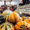 Ben Daley, from Chip Creek Farm in Lisbon plays the violin while customers browse during Sunday's first indoor farmers market of the season at the YWCA in Lewiston sponsored by the Lewiston Farmers' Market.