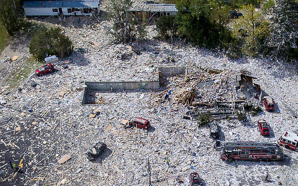 An aerial photo from the morning of the explosion shows the propane tank, top left, that had a leak in the underground line feeding the LEAP building, center, that was destroyed in an explosion September 16, 2019 in Farmington.