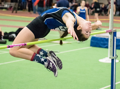 Lewistn's Taylor Chamberlain clears the bar en route to a second place finish at Saturday's KVAC Championships at Bowdoin College.  (Russ Dillingham/Sun Journal)