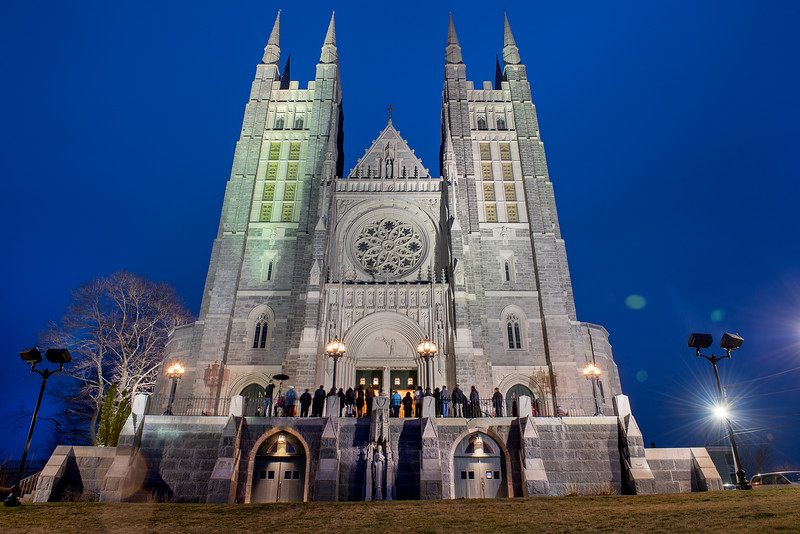 Several dozen people gathered at the Basilica of Saints Peter & Paul in Lewiston during their Tenebrae service, part of  Holy Week celebrations.
