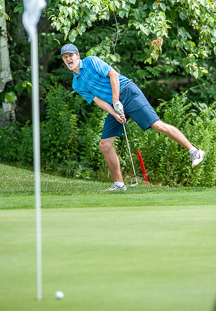 Thomas Higgins yells out in frustration as his chip shot from the frinde of the 16th hole stops short during Monday's first round of the Maine Junior Championship tournament at Brunswick Golf Club. (Russ Dillingham/Sun Journal)