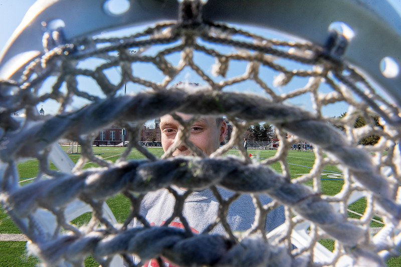 Bates College lacrosse player Matt Chlastawa prior to a recent practice at Bates College in Lewiston.