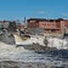 A panoramic view of Great Falls on the Androscoggin River from the Riverwalk in Auburn on April 14, 2020.