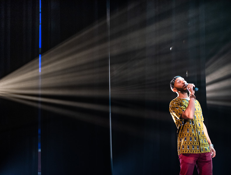 Samir Zamundu, from the group, The Reminders, performs during a dress rehersal  at Schaeffer Theatre Friday morning July 12, 2019.