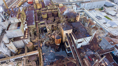 A massive explosion at the Androscoggin Mill in Jay, Maine about noon on Wednesday April 15, 2020 ripped apart the plant owned by Pixelle Specialty Paper Solutions.