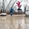 "After an unspecified amount of time, Myles Dubois, 8 gets to jump back into a giant puddle in Sunny Side Park in Lewiston Tuesday afternoon while playing a game of ""Puddles is Lava"" with his sister Alexis, 11, background, across the street from their home on Winter Street during another day of soakig rain.  (Russ Dillingham/Sun Journal)"