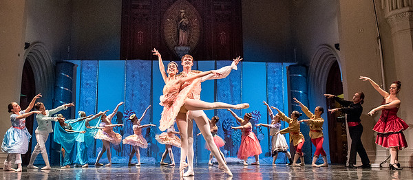 Sugar Plum Fairy, Katarina Weissbach and Cavalier, Stefan Kroger, center,  float across the stage at the Gendron Franco Center in Lewiston Wednesday during the final dress rehersal of A Nutcracker Christmas.  Dozens of local dancers from The Dance Center in Auburn will put on three shows this weekend. For more information or tickets, visit francocenter.org  (Russ Dillingham/Sun Journal)