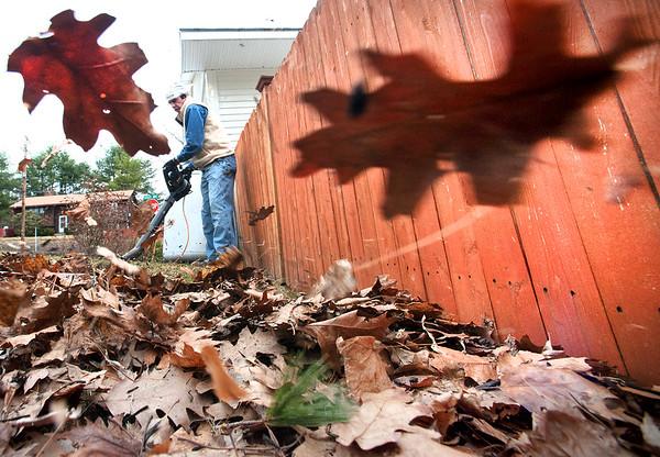 Blowing off raking