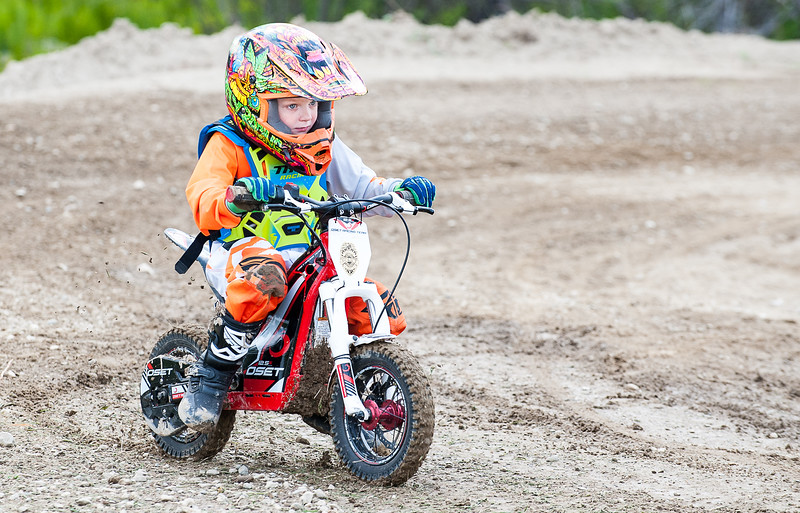 Caleb Sargent, 4, of Windham, practices at Hemond's MX & Offroad Park in Minot Thursday afternoon on his motorized balance bike as he prepares to compete in Sunday's race on the newly built track for beginner riders, balance bikes, bicycles, and pit bikes. The facility is open for this weekend's Spring Break event that is expected to draw several hundred riders of various types of motorcycles, ATV's, Jeeps and other motorized vehicles to ride on two championship courses and several other smaller ones as well as 10 miles of trails.  (Russ Dillingham/Sun Journal)