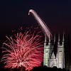 Fireworks explode over Great Falls and the Androscoggin River between Lewiston and Auburn Monday night as the Basilica of Saints Peter & Paul looms in the foreground during the 2021 Liberty Festival.