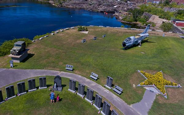People explore Veterans Memorial Park in Lewiston Wednesday afternoon.