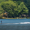 A jet ski pulls a waterskier across Bear Pond in Turner on Tuesday afternoon, August 11, 2020.