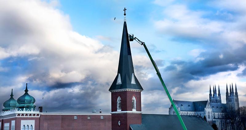 Steeple work at former St. Joseph's Church