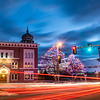 Vehicle lights streak down Main Street in Lewiston past the Kora Shrine Temple in this 20 second time exposure on December 10, 2020.