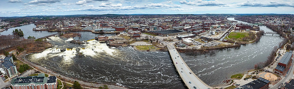 An aerial view shows the Riverwalk winding along the Androscoggin River between Lewiston and Auburn.  (Russ Dillingham/Sun Journal)