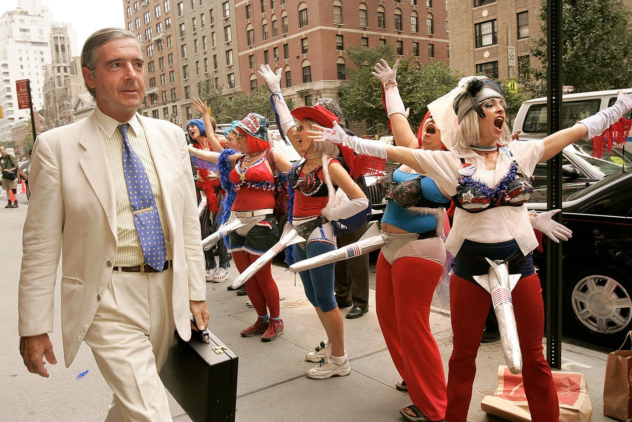 8/30/2004 -- New York, NY -- Missile Dick Chicks protest RNC -- Members of the activist organization Missile Dick Chicks demonstrate in front of the Regency Hotel on Park Avenue in Manhattan on Monday morning, the first day of the Republican National Convention. Photo by Dina Rudick, The Boston Globe.