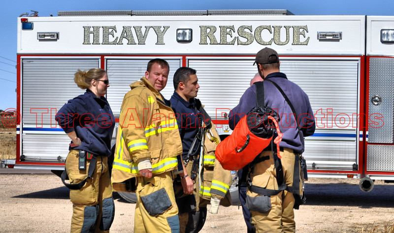Great coordination with mutual aid from Colorado Springs Heavy Rescue 17 and crew on the ice rescue in Falcon, Colorado.