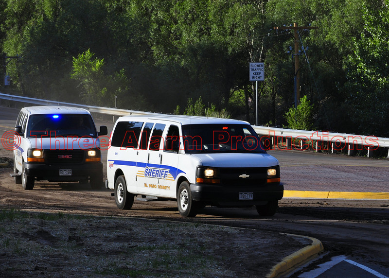 Drivers and passengers that were caught up in the mudslides, were later transported from the scene off the highway by El Paso County Sheriff's Office Vans, seen here.