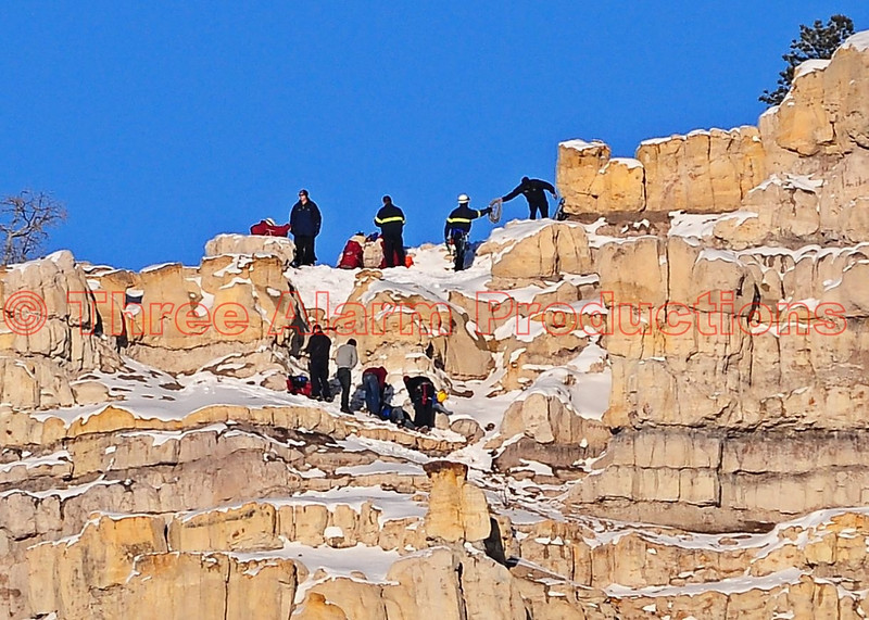 Colorado Springs Rescue Groups, evaluate and stabilize hiker on the top of Pulpit Rock. December 9, 2013