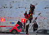 Injured hiker being brought down by Colorado Springs Firefighters from the top of Pulpit Rock to an awaiting AMR Ambulance. Dec 9, 2013