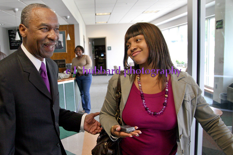 E.L. Hubbard for Newsday<br /> The Rev. Floyd Flake, president of Wilberforce University,greets a student Friday, 05/04/07. Flake said he has personally greeted probably all of the nearly one-thousand students at the school.