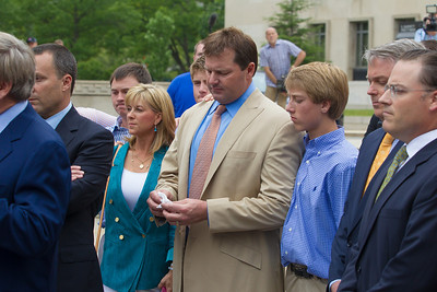 Roger Clemens (in tan suit) speaks briefly to the press, holding tissue, in front of the E. Barrett Prettyman Federal Courthouse in Washington D.C. at the conclusion of his trial. He was joined by family members and his legal team. In photo wife Debbie and son Kody Clemens.  Roger Clemens was acquitted on Monday, June 18, 2012 on all charges that he obstructed and lied to Congress in denying he used performance-enhancing drugs. (Photo by Jeff Malet)