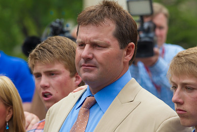 Roger Clemens (in tan suit) is flanked by his wife and sons as he speaks briefly to the press in front of the E. Barrett Prettyman Federal Courthouse in Washington D.C. at the conclusion of his trial. Roger Clemens was acquitted on Monday, June 18, 2012 on all charges that he obstructed and lied to Congress in denying he used performance-enhancing drugs. (Photo by Jeff Malet)