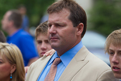 Roger Clemens (in tan suit) speaks briefly to the press in front of the E. Barrett Prettyman Federal Courthouse in Washington D.C. at the conclusion of his trial.  He was joined by lead lawyer Rusty Hardin and members of his legal team, and family members. Roger Clemens was acquitted on Monday, June 18, 2012 on all charges that he obstructed and lied to Congress in denying he used performance-enhancing drugs. (Photo by Jeff Malet)