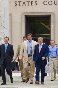 Roger Clemens (in tan suit) exits the E. Barrett Prettyman Federal Courthouse in Washington D.C. with lead lawyer Rusty Hardin. They are joined by other members of the legal team, and family members at the conclusion of his trial. Roger Clemens was acquitted on Monday, June 18, 2012 on all charges that he obstructed and lied to Congress in denying he used performance-enhancing drugs. (Photo by Jeff Malet)