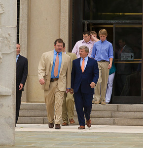 Roger Clemens (in tan suit) exits the E. Barrett Prettyman Federal Courthouse in Washington D.C. with lead lawyer Rusty Hardin and family members at the conclusion of his trial. Roger Clemens was acquitted on Monday, June 18, 2012 on all charges that he obstructed and lied to Congress in denying he used performance-enhancing drugs. (Photo by Jeff Malet)