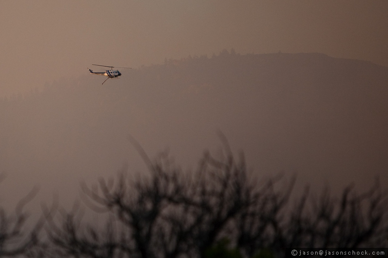 Firefighting helicopter over Santa Barbara, CA