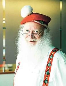 Dan Cunningham of Elyria looks the part at the meeting of the Santas. BRUCE BISHOP/CHRONICLE
