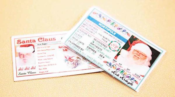Santas have their own licenses. BRUCE BISHOP/CHRONICLE