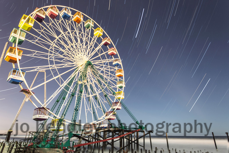 Still Spinning. <br /> Seaside Park. Ferris wheel start trails