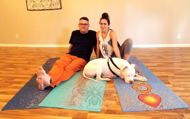 AS_ Yoga Mat Art Show_ Dave Brooker and Aline Marie with dog Truth
