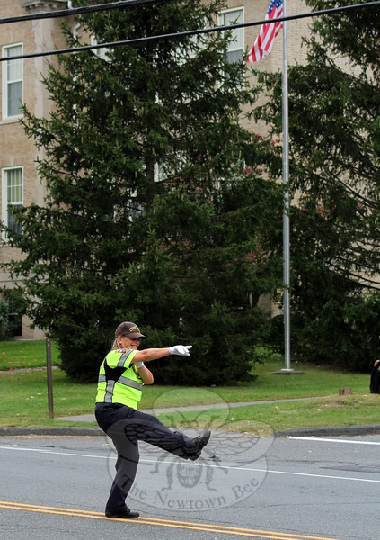 SH_Holick retiring as traffic agent -- directing traffic at Hawley 04