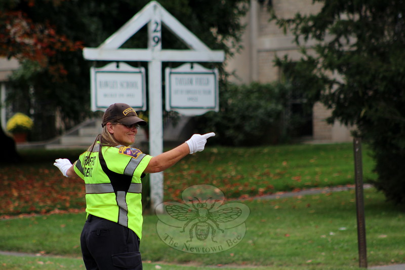SH_Holick retiring as traffic agent -- directing traffic at Hawley 03