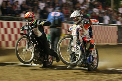 National Championship Speedway action. Billy Hamill and Greg Hancock.
