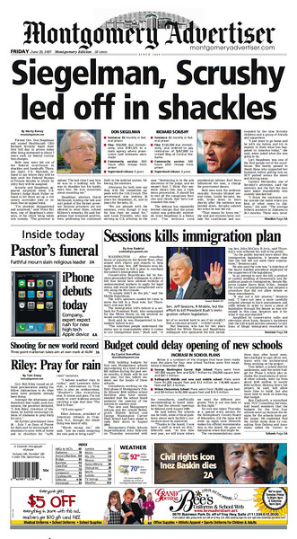 Siegelman, Scrushy front pages