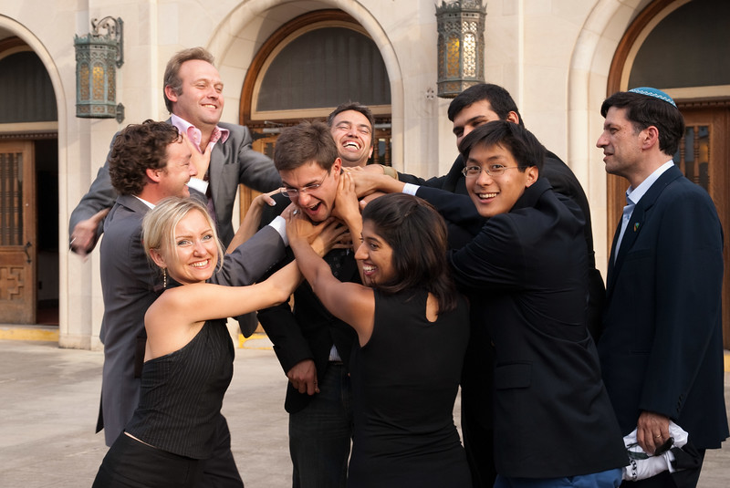 Clowning around after the work is done: Team Global celebrates its graduation from SU.