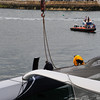 La Route des Princes Festival 22 June 2013 - Spindrift being righted after capsizing in Dún Laoghaire Harbour 22 June 2013.