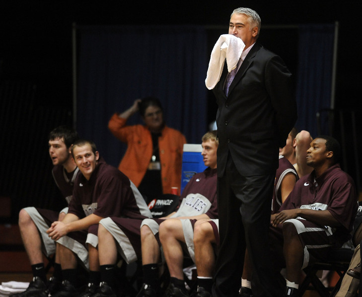 University of Montana head basketball coach Wayne Tinkle reacts to a referee's call during second half action against Idaho State University in Holt Arena.