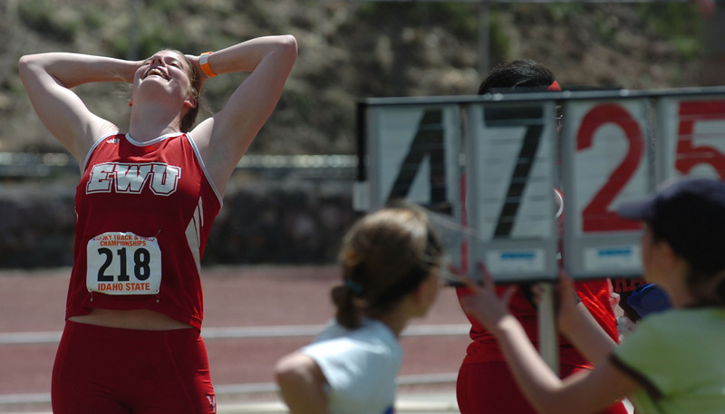 Bill Schaefer/Idaho State Journal<br /> Eastern Washington's Bonnie Millard celebrates her first place throw of 47.25 meters in the discus during the Big Sky Outdoor Track Championships at Davis Field on the Idaho State Univesity campus Saturday afternoon.