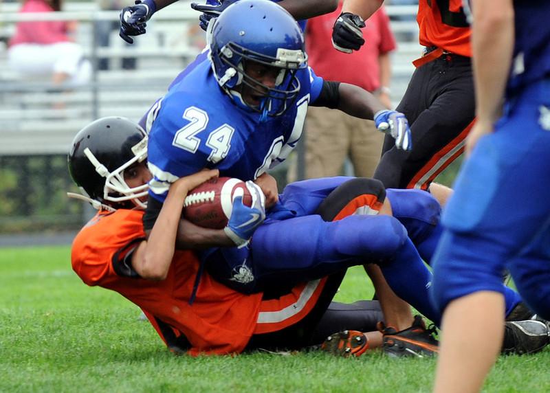 Russ Dillingham PhotoGRAPHICS<br /> 9/22/11<br /> Lewiston Freshman football game against Gardiner.